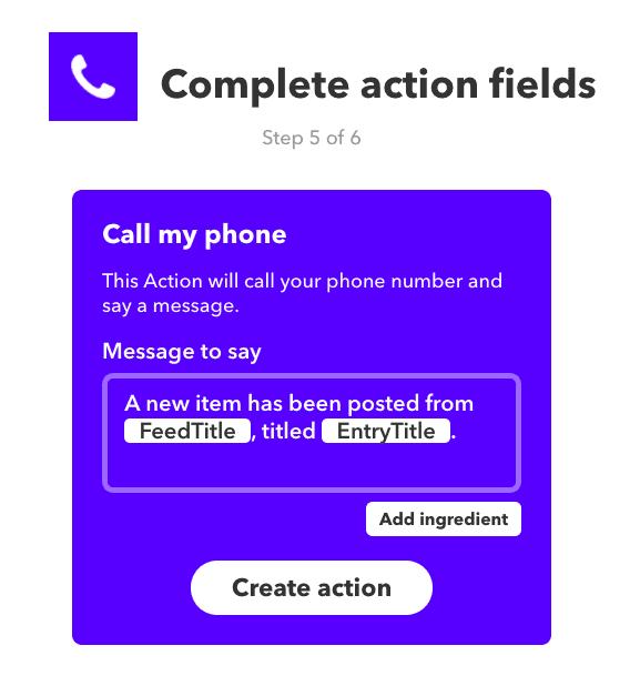 screenshot of ifttt default rss phone call message content formula