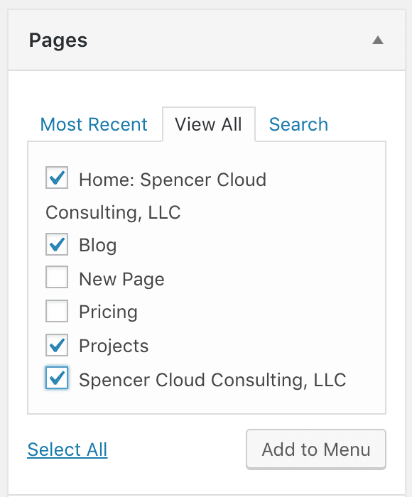 """the """"Pages"""" menu item dropdown again, this time with """"Home: Spencer Cloud Consulting, LLC"""", """"Blog"""", """"Projects"""", and """"Spencer Cloud Consulting, LLC"""" checked"""